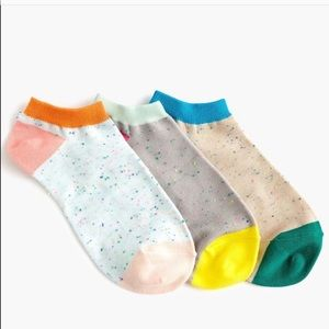 NWT J.Crew Ankle Socks 3-pack Donegal Color-block